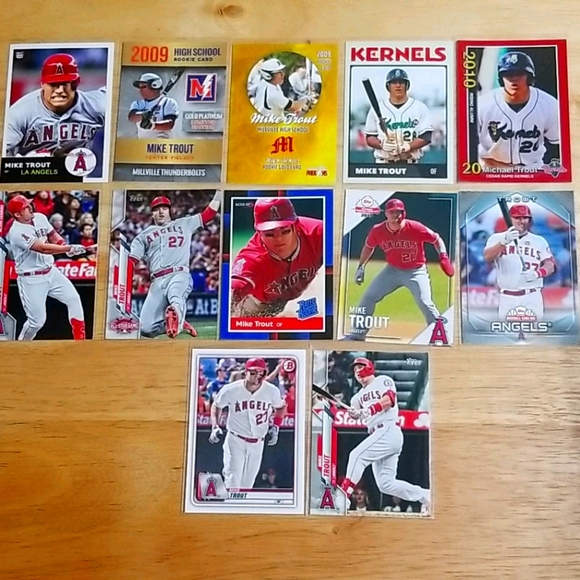 12 Mike Trout cards - mixed years / brands